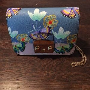 Furla-Butterfly Print Leather Crossbody